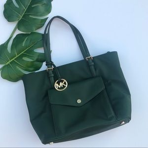 MK Jet Set Large Pocket Nylon Tote Dark Green NEW